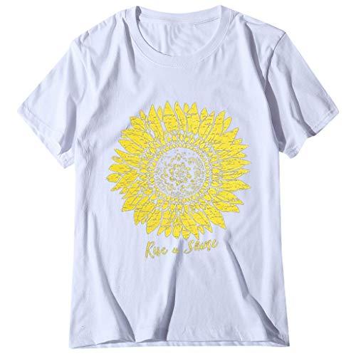 MRULIC T-Shirt Damen Kurzarm Rundhals BöHmen Drucken Blusen Tunika Oberteile LäSsige Lose Sommer Basic Tops Casual Pullover(Weiß,M)