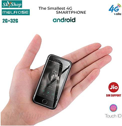 Skyshop Melrose 4G LTE Volte World's Smallest Credit Card Size Mini Smartphone Android 7.0 Quad Core 2GB and 32GB 1580mAh Dual Camera Fingerprint Mobile (Black)