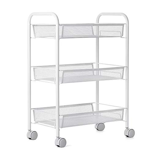 Leeofty Multifunctional 3-Tier Mesh Wire Rolling Cart Kitchen Bedroom Bathroom Living Storage Rack Organizer-White