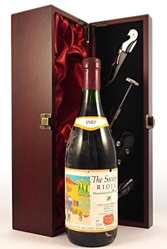 Rioja 1987 The Wine Society en una caja de regalo forrada de seda con cuatro accesorios de vino, 1 x 750ml