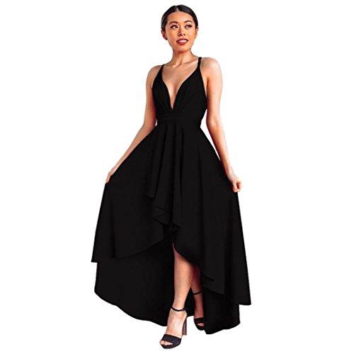 Amphia Damen Abendkleid mit Tiefer V-Ausschnitt Bunte Kleider Asymmetrisch Schlitz Maxikleider Sommerkleider Partykleider Cocktailkleid (Schwarz, XL)