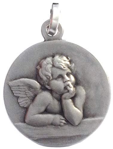 Medaille des Heiligen Schutzengels in Sterling Silber 925- Medaillen von Schutzheiligen