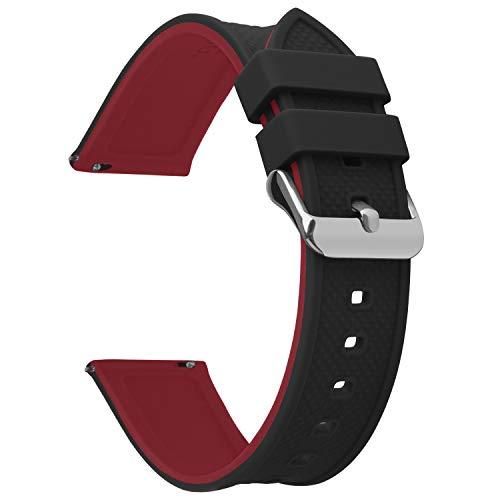 Fullmosa Silikon Uhrenarmband 24mm mit Schnellverschluss in 8 Farben, Regenbogen Weich Silikon Uhrenarmband mit Edelstahlschnalle,24mm Schwarz+Rot