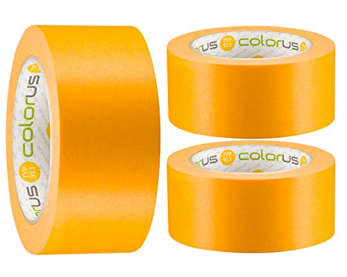 3 x Colorus Profi Maler-Goldband Soft Tape | Maler Abklebeband 50 mm x 50m UV beständig | Klebeband für gestochen scharfe Farbkante | Lackierband Lackier-Klebeband Lack-Abdeckband