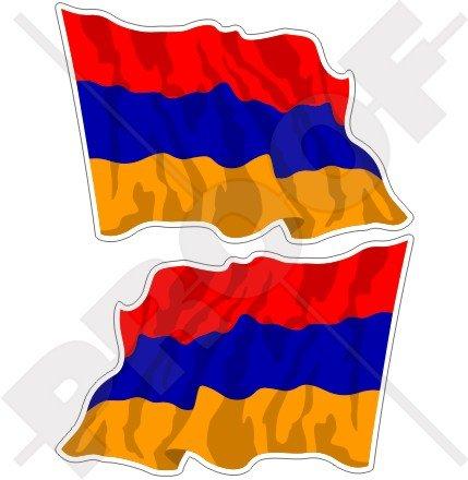 Arménie Drapeau arménien agitant 7,6 cm (75 mm) en vinyle Bumper Stickers, Stickers x2