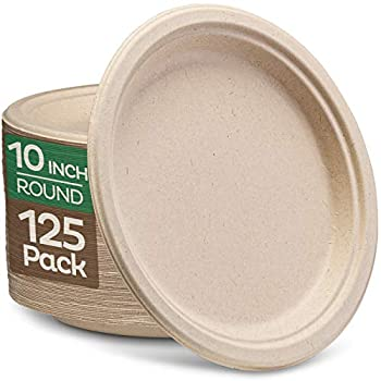 100% Compostable Paper Plates 10 inch Bulk {125-Pack] Disposable Plates Heavy-Duty Quality Natural Bagasse Eco-Friendly Biodegradable Made of Sugar Cane Fiber Large 10  Dinner Plate