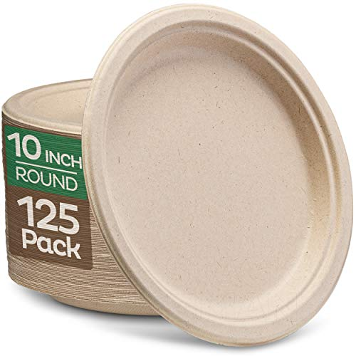 """100% Compostable Paper Plates 10 inch Bulk {125-Pack] Disposable Plates Heavy-Duty Quality, Natural Bagasse Eco-Friendly Biodegradable Made of Sugar Cane Fiber, Large 10"""" Dinner Plate"""