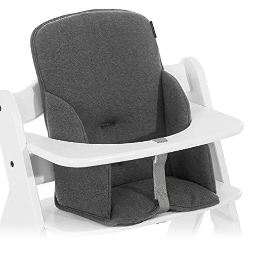 Hauck Sitzverkleinerer Cosy für Hochstuhl Alpha und Beta - Polster Babysitz für Kleinkinder mit Anti-Rutsch-Beschichtung und hoher Rückenlehne - Charcoal Grau