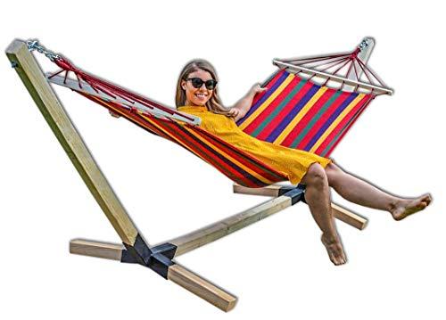 Megaastore Hängematte im Set mit Buchenholzgestell 320 cm   Bis zu 150kg   Outdoor Hängemattengestell Holz Gestell wetterfest, Stabhängematte (Rot)