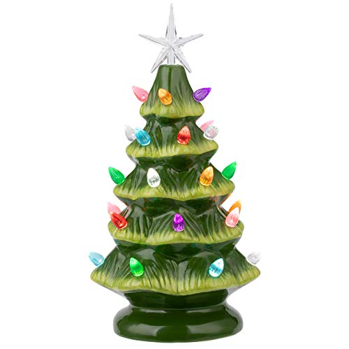 Sunnyglade 11' Ceramic Christmas Tree Tabletop Christmas Tree Lights with 28 Multicolored Lights and 1 Star Toppers for Table Top Desk Classic Series Christmas Decoration (Green) (Green)