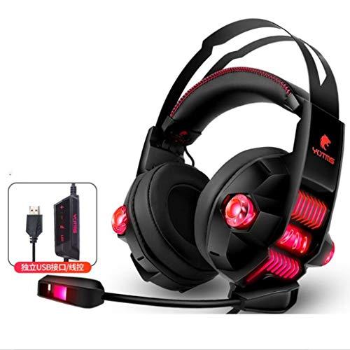 MZZYP Auriculares para videojuegos, 3D estéreo, 7.1 canales, Quad Core Dual Core Sport RGB, ligeros, variables (color: rojo)