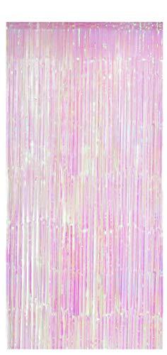 Foxxeo Selbstklebender Lametta Vorhang im Einhorn Look Größe 91 x 244 cm Einhorn