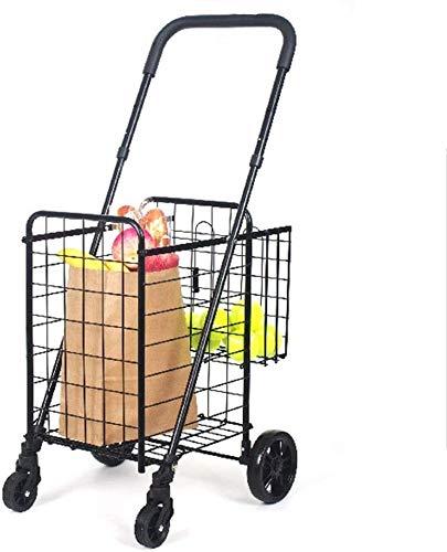 Kkcd Carrito de Compras Cesta Plegable Cesta de la Tienda Doble con un Coche práctico de la Rueda Universal,Black