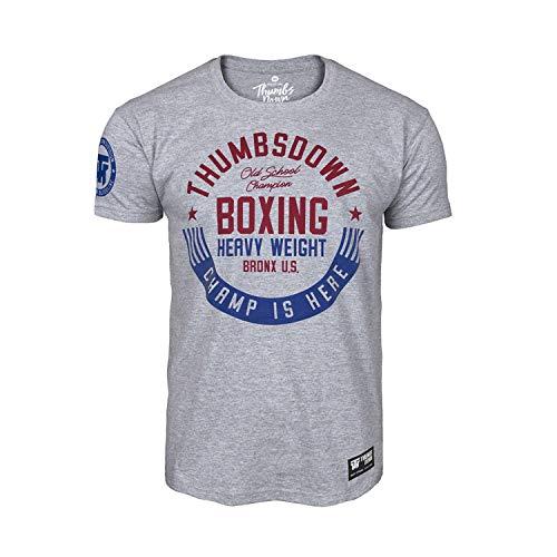 Thumbs Down Boxeo Camiseta Pesado Peso. Champ Is' Here. MMA. Gimnasio Entrenamiento. Artes Marciales - Gris, XL