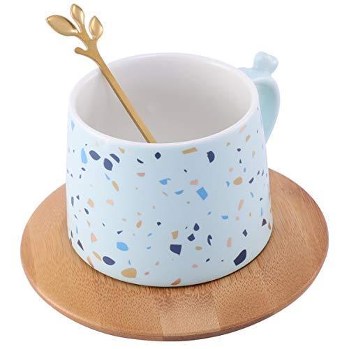 Cabilock - Taza de café de cerámica con tapa y cuchara de bambú con impresión floral - Taza de café de té y leche de cerámica con mango - Home Office - Azul