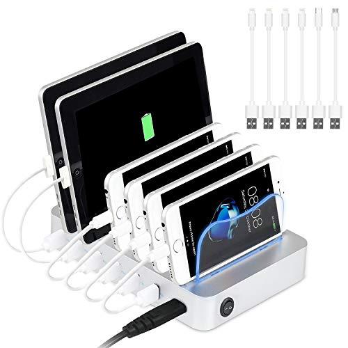 PRITEK USB Ladestation für mehrere Geräte 50W/10A 6 Ports Organizer Ladestation mit kurzen USB Kabeln für Mobiltelefon Tablet Tablet Kopfhörer MP4 und andere USB-fähige Geräte (Silber)