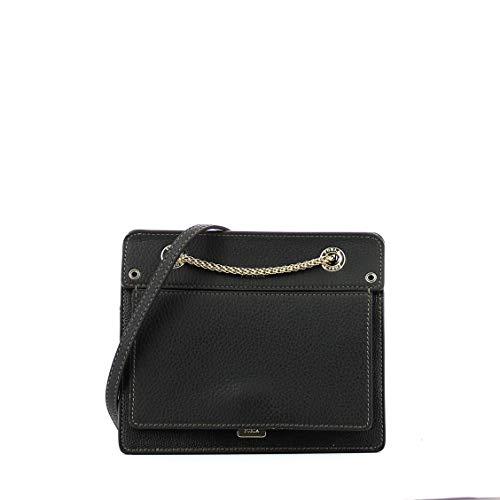 Furla Women's Like Mini Crossbody Bag with Chain, Onyx, Black, One Size