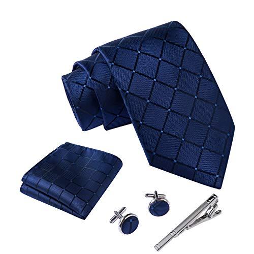Massi Morino ® Herren Krawatte Set mit umfangreicher Geschenkbox blau blaue dunkelblau naviblau marineblau blauekrawatte dunkelblauekrawatte quadratmuster geometrisches muster