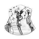 JONINOT Bufanda protectora para el cuello Máscara a prueba de viento: estilo de dibujo de una banda de jazz que toca música con instrumentos y notas musicales impresas