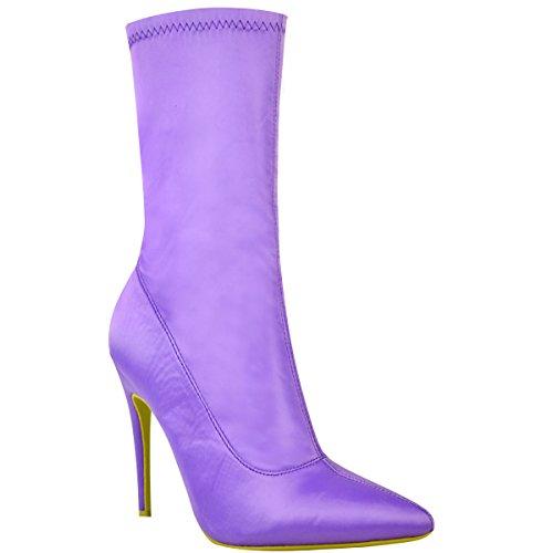 Fashion Thirsty Damen Stiefel IM Stiletto-Look - Elastischer Schaft - Spitz Zulaufend - Fliederfarben Satin – EUR 38
