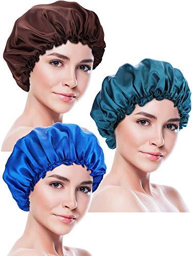 Blulu 3 Stück Schlafmütze Satin Motorhaube Nacht Kopfbedeckung Schlafen Weiche Haarturbanen für Damen und Mädchen (Stil Set 5)