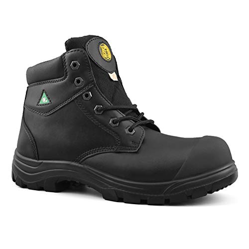 "Tiger Men's Safety Boots Titanium Steel Toe CSA Approved Lightweight 6"" Leather Work Boots 3055 (11 3E US, Black)"