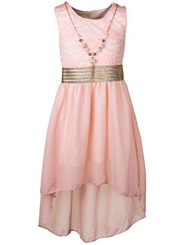 Unbekannt Kinder Sommer Fest Kleid für Mädchen Sommerkleid Festkleid mit Kette in vielen Farben M288rs Rosa Gr. 16/164