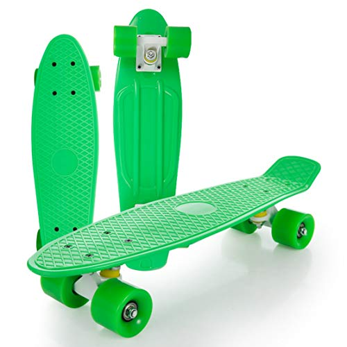 Mini Cruiser Complete Skate Board for Children Young Adults Highway Brush Street Beginners Penny Board 22 Inch Transparent Wheel with ABEC-7 Bearings (Color : Green - wear Wheels)