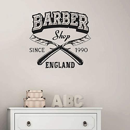 ShiyueNB Barbershop Logo Vinyl muurtattoos man kapsalon raam decoratie afneembare mode haarkapper DI4 5x42 cm