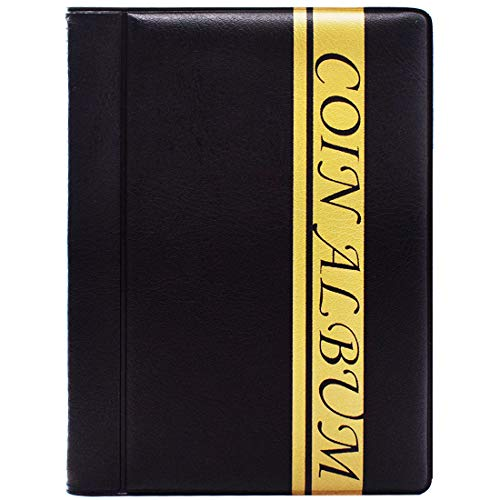 ZSWQ Album Monedas Coleccion Monedas Bolsillos Coin Storage Coleccion 120 Bolsillos para El Almacenamiento De Monedas Colección De Monedas (Negro)