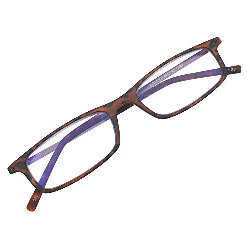 超薄型 老眼鏡 シニアグラス 薄い リーディング 読書 グラス おしゃれ スリム コンパクト ブルーライトカット (デミブラウン +3.00)