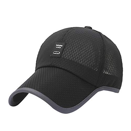 Gorra de béisbol unisex respirable del verano del Snapback de secado rápido de Sun del acoplamiento del sombrero del casquillo del camionero del hueso para Mujeres Hombres (Negro)
