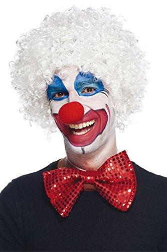 aec-perruque-clown kostuum, unisex volwassenen, aq04108, wit, 83 g