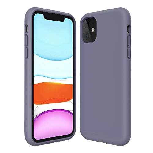 Kocuos iPhone 11 Case Anti-Scratch & Fingerprint & Microfiber Liner Shock Absorption Gel Rubber Full Body Protection Liquid Silicone Case for iPhone 11 6.1 inch (Lavender Grey)