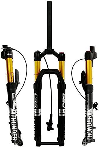 Horquilla neumática 27,5'29' Horquilla de suspensión de Bicicleta MTB 1-1/8'Tubo de dirección Recto 100 mm de Recorrido Eje de 15x100 mm Bloqueo Remoto Horquilla de Bicicleta Horquilla de suspensi