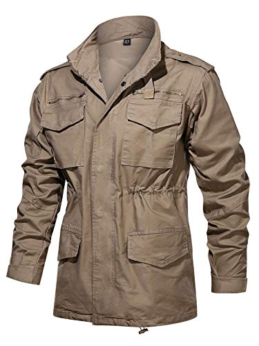 TACVASEN Men's Field Jacket Cotton Military Classic Vintage Concealed Hooded Coat Khaki, L