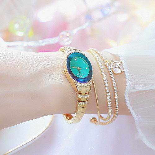 YIBOKANG Moda Femenina Casual Diamante Impermeable Reloj De Piedra Personalidad Creativa Mesa Delgada De Aleación De Diámetro Elíptico con 2 Delicado Pulsera Regalo Reloj De Moda (Color : Verde)
