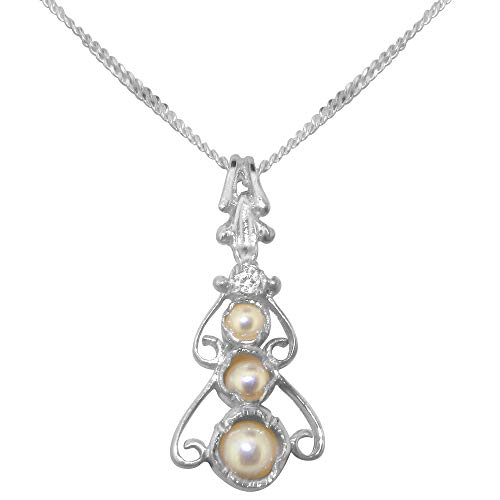 9ct White Gold Cultured Pearl & Cubic Zirconia Womens Bohemian Pendant & Chain Necklace - Chain length 18