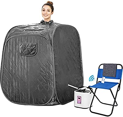 Himimi 2L Foldable Steam Sauna Portable Indoor Home Spa Weight Loss Detox with Chair Remote (Grey)