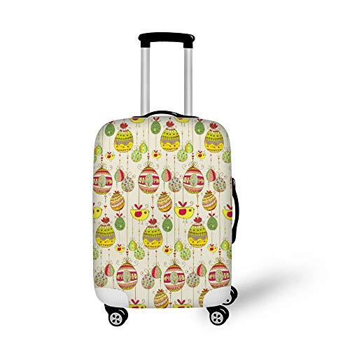 Mesllings Travel Bagage Cover Koffer Beschermer Past op 18-32 Inch Bagage Easter Doodle Eieren Kleur Lijn Patroon