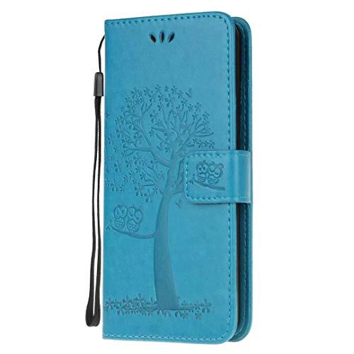 A41 Hülle Case für Samsung Galaxy A41 Hülle PU Leder Tasche Handyhülle Flip Case Cover Eule Baum Handytasche Mädchen Schutzhülle Skin Ständer Klappbar Schale Bumper Magnet Deckel Blau