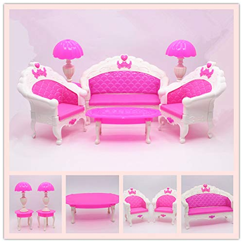 EPRHY Puppenhausmöbel Wohnzimmer-Sofa-Set für Zubehör, langes Sofa, Stühle, Vintage-Schreibtischlampe, Tee-Tisch für Puppenhaus, Action-Figuren, 6 Stück
