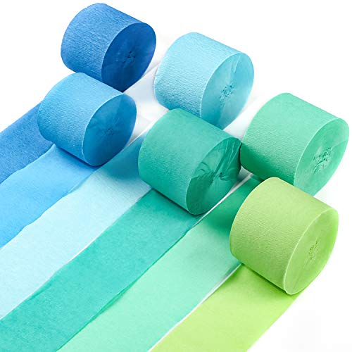 PartyWoo Crepe Paper Streamers, 6 pcs 82ft Green Streamers Party Decorations, Party Streamers, Birthday Streamers, Blue Streamers for Birthday Party, Wedding Decorations, Birthday Decorations (Blue)