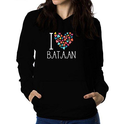 Teeburon I Love Bataan Colorful Hearts Sudadera con Capucha para Mujer