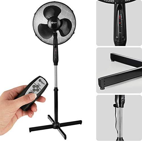 Balter Standventilator mit Fernbedienung, Ventilator Sehr leise (45 dB), 3 Geschwindigkeitsstufen, 90° Oszillation, Höhenverstellbar, Schwarz