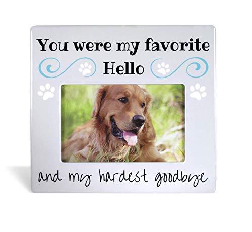Gedenktafel für Haustiere Bilderrahmen–Foto Rahmen für Hund oder Katze–Trauer You Were My Favorite Hello und My härtesten Goodbye–4x 6Rahmen