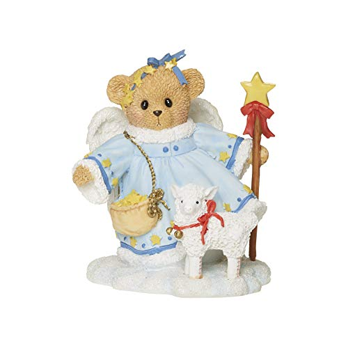 Roman Cherished Teddies, Stella Snow Angel with Lamb Figure, 3.75' H, Resin and Wollastonite, Durable, Collectible Decoration, Decorative, Decor