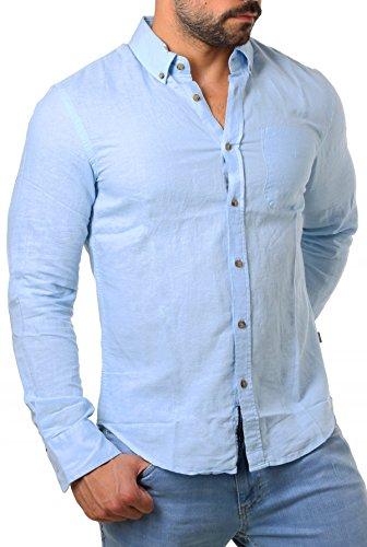 CARISMA Herren Leinen Baumwoll Mix Button Down Hemd Langarm körperbetont Slim Fit leicht tailliert 8388, Grösse:XL, Farbe:Hellblau