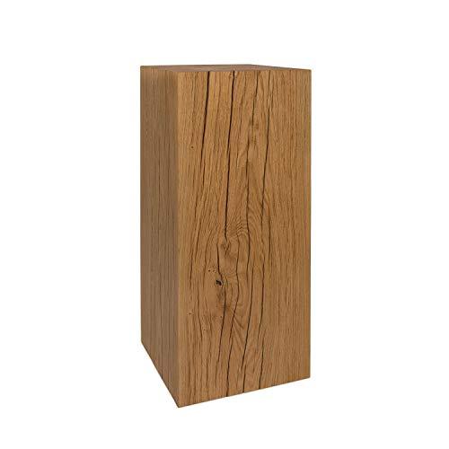 GREENHAUS Holzsäule Eiche Massiv 30x30x80 cm Handarbeit und Massivholz aus Deutschland Dekosäule Holzklotz Holzblock