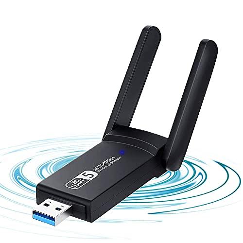 AndThere Adaptador USB inalámbrico, antena externa de 1200 Mbps USB 3.0 WiFi Stick Mini tarjeta de red Dual Band 2.4G / 5G, adaptador inalámbrico WiFi Dongle para Windows XP/7/8/10, Mac OS, Linx